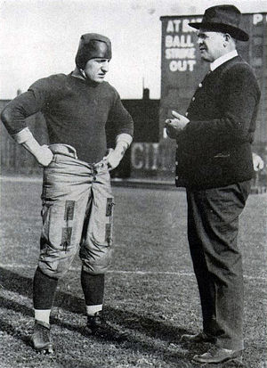 "Pittsburgh Panthers football - Hall of fame head football coach ""Pop"" Warner (right) with three-time All-American and team captain Bob Peck during the 1916 national championship season"