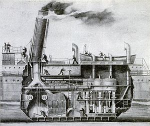Marine steam engine - Period cutaway diagram of a triple-expansion steam engine installation, circa 1918