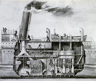Marine steam engine - Period cutaway diagram of a triple-expansion steam engine installation, circa 1918. This particular diagram illustrates possible engine cutoff locations, after the Lusitania disaster and others made it clear that this was an important safety feature.
