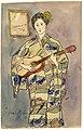 Portret van Mevr. Cox in een kimono, Felix Timmermans, 1918, tekening, Letterenhuis (Antwerpen) - tg lhtk 8007.jpg