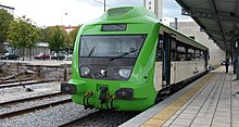 Portuguese Railways 0370 railcar at Guarda Railway Station.jpg
