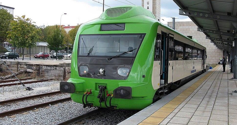 Portuguese Railways 0370 railcar at Guarda Railway Station