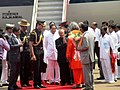 Pranab Mukherjee being welcomed by the Governor of Odisha, Shri. S.C. Jamir and the Chief Minister of Odisha, Shri Naveen Patnaik, on his arrival at Biju Pattnaik International Airport, in Bhubaneswar, Odisha.jpg