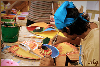 University of Dhaka - Students of Charukala (Fine Arts) Institute of University of Dhaka preparing for Pohela Boishakh