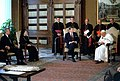 President Ronald Reagan and Nancy Reagan meet with Pope John Paul II at the Papal Library Vatican Pontifical Palace.jpg