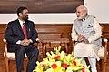 Prime Minister Narenda Modi meeting with the Deputy PM & Minister of Home Affairs of Nepal, Bimalendra Nidhi.jpg