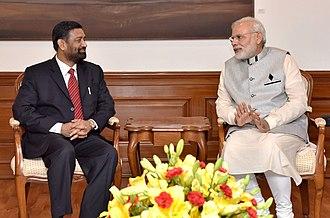 Bimalendra Nidhi - Nidhi meeting Indian Prime Minister Narendra Modi; August 2016.