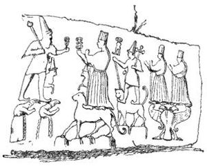 History of Anatolia - A drawing of an early cuneiform carving of a procession by Hittites in Boğazkale, Turkey.