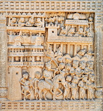 Shravasti - Procession of Prasenajit of Kosala leaving Sravasti to meet the Buddha. Sanchi.