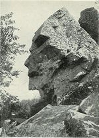 Freetown, Massachusetts - This photo from a 1902 postcard shows Assonet's Profile Rock.