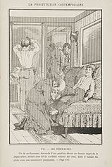 Molly-houses were often considered as brothels in legal proceedings.[1]  This picture shows a male brothel, illustration by Léon Choubrac (known also as Hope), included in Léo Taxil's book La prostitution contemporaine, 1884, pg. 384, Plate VII.
