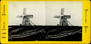 Long Point (Cape Cod) - Stereoscopic view of a 19th-Century windmill, just one of the dozens that once  dotted Provincetown's shoreline