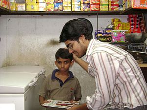 Giving free books to needy children who do wor...
