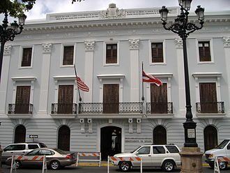 Government of Puerto Rico - The main offices of the Puerto Rico Department of State in front of Plaza de Armas in Old San Juan.
