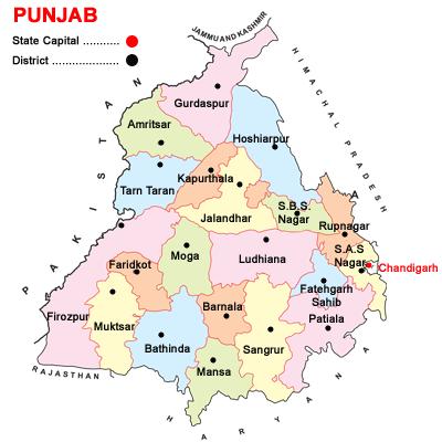 Punjab district map 2014