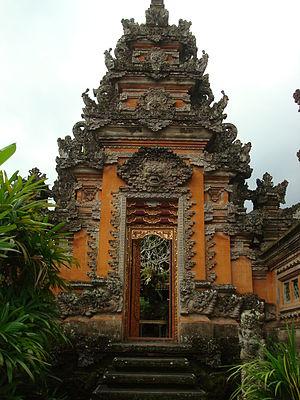Balinese temple - Towering kori agung gate at Pura Taman Saraswati Ubud.