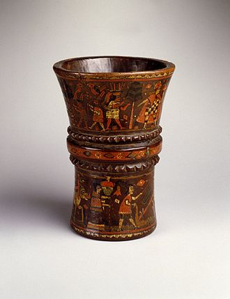 Qiru - Qiru cup, late 17th-18th century. Wood with pigment inlay,  Brooklyn Museum