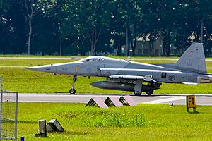 Republic of Singapore Air Force - An F-5S of 144 Sqn preparing for take-off.