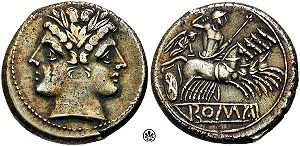 Quadrigatus - Didrachm or quadrigatus (ca. 225-212 BC), with a laureate head of Janus or the twinned Dioscuri, and Victory driving a quadriga (four-horse chariot)
