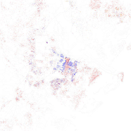 Racial distribution map of Savannah and Chatham County (source: 2010 U.S. Census). Each dot represents 25 residents: white, black, Asian, Hispanic or other (yellow). Race and ethnicity 2010- Savannah (5559843151).png