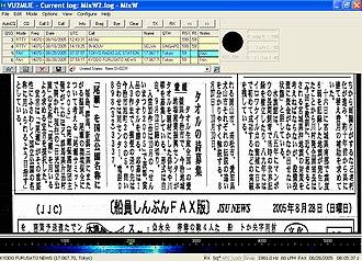 Radiofax - A marine radio fax news from Tokyo Radio JJC Station received using MIXW with a SSB HF communication receiver.