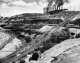 Yallourn 900mm Railway - Incline from the open cut to the power station and briquette factory