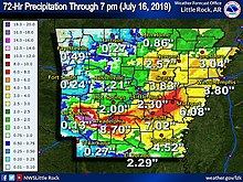 Rainfall in 72 hours from Barry in Arkansas. The highest totals were near the southwestern part of the state.