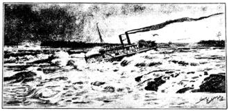 Lachine Rapids - Boat crossing the rapids, ca. 1890
