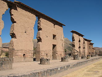 Raqch'i - The central wall of the Temple of Wiracocha