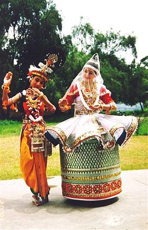 Manipuri dance - The love story of Radha and Krishna are commonly acted out in Manipuri dance drama performance.
