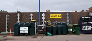 Automotive oil recycling - Waste oil collection for recycling at the Fairgreen Amenity Site, Portadown