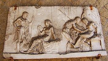 Achille all'oracolo di Delfi e mentre cura le ferite di Telefo, rilievo, I secolo a.C., Napoli, Museo Archeologico Nazionale.