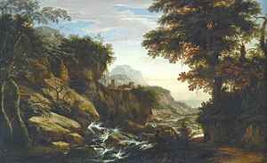 Renier Meganck - Mountainous forest landscape with a view of a castle