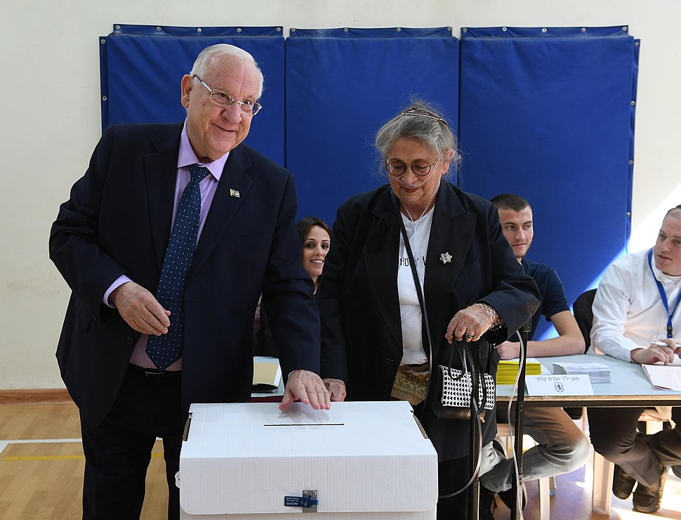 Reuven Rivlin and his wife voting on the municipal elections in Israel, Jerusalem, October 2018 (8715)