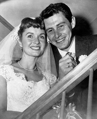 Eddie Fisher (singer) - Debbie Reynolds and Eddie Fisher at their wedding in 1955