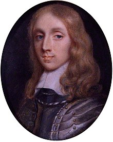 A circular portrait of Richard Cromwell.  Cromwell has shoulder length blonde hair and is wearing silver armour.