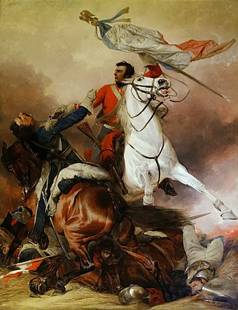 Sergeant Ewart of the Scots Greys capturing the eagle of the 45eme Ligne in The Fight For The Standard by Richard Ansdell Richard Ansdell -- The Fight For The Standard.jpg