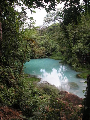 Water resources management in Costa Rica - The Rio Celeste (sky blue river) at Tenorio Volcano National Park in Costa Rica.