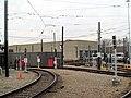 Riverside carhouse from station, December 2015.JPG