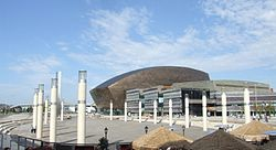 Roald Dahl Plass, outside the Millennium Centre, acts as the exterior of the Hub.