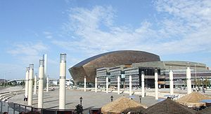 Media in Cardiff - Roald Dahl Plass, outside the Millennium Centre, acts as the exterior of the hub in the series Torchwood