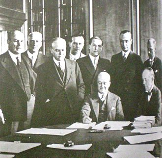 Julio Argentino Pascual Roca - Vice President Roca (seated, second from right) signs the Roca-Runciman Treaty.