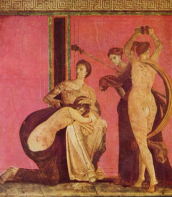 The Villa of the Mysteries (Italian: Villa dei Misteri) is a well preserved ruin of a Roman Villa which lies some 400 metres northwest of Pompeii, southern Italy. In this fresco from the villa, a Bacchian rite is depicted.