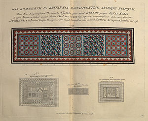 Vetusta Monumenta - Roman mosaics from Wellow, Somerset near Bath, England, double page spread in volume 1, in an 1826 reprint