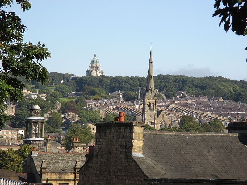 Lancaster Cathedral in the middle distance, and the Ashton Memorial in the background