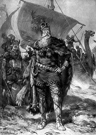 Rorik of Dorestad, Viking conqueror and ruler of Friesland, a romantic 1912 depiction by Johannes H. Koekkoek. Rorik by H. W. Koekkoek.jpg