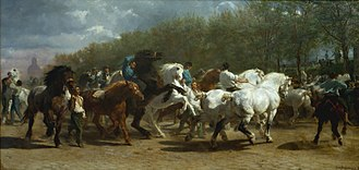 Percheron - A mid-19th century painting by Rosa Bonheur, depicting a French horse fair that includes Percherons