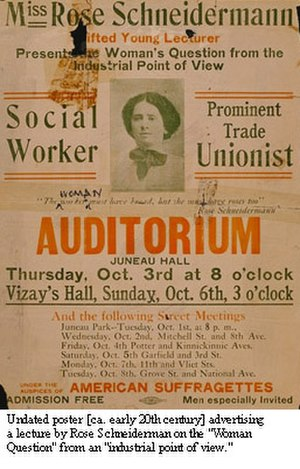 Rose Schneiderman - Pre-1920 poster for a Rose Schneiderman event