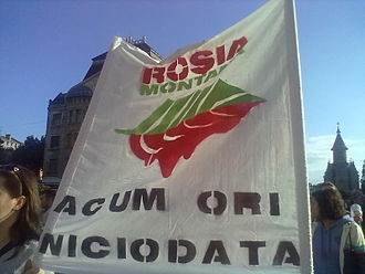 "2013 Romanian protests against the Roșia Montană Project - A banner reading ""Now or never"" during a protest march in Timișoara, on 22 September"
