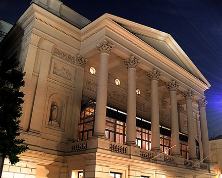 The Royal Opera House, Bow Street Facade, after reconstruction Royal Opera House at night.jpg
